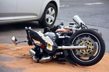 crashed motorcycle after an accident