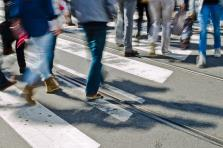 Pedestrians in a crosswalk in Burlingame