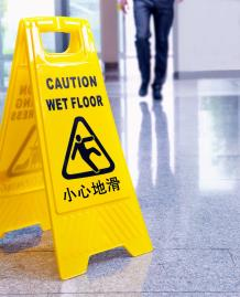 Burlingame Slip, Trip & Fall Lawyer Wet Floor Sign